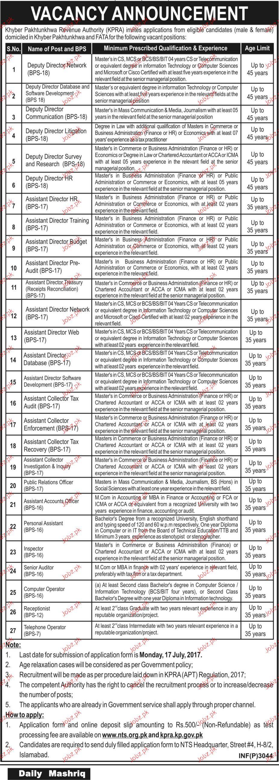 Khyber Pakhtunkhawa Revenue Authority KPRA NTS Jobs Open