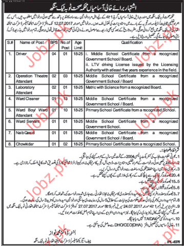 Department Of Health Services Toba Tek Singh Jobs 2019 Job
