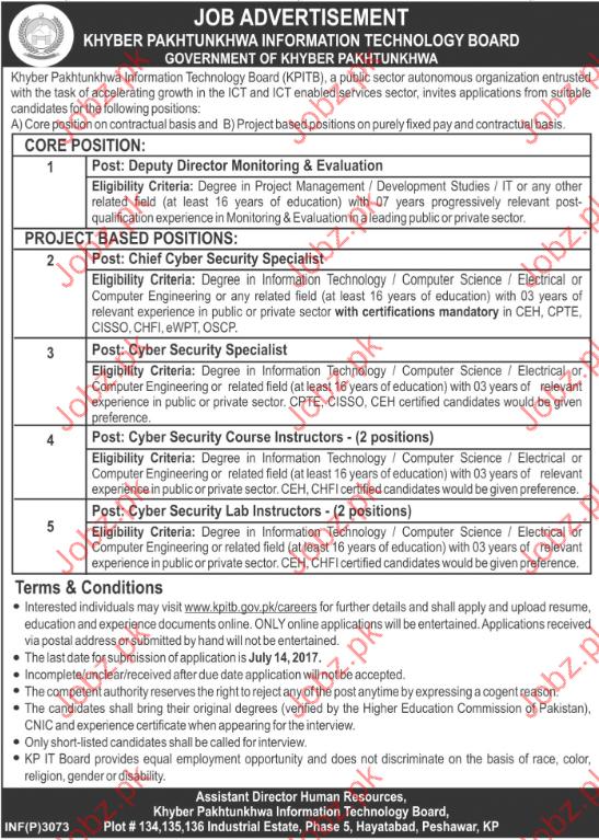 Khyber Pakhtunkhwa Institute Of Information Technology Jobs