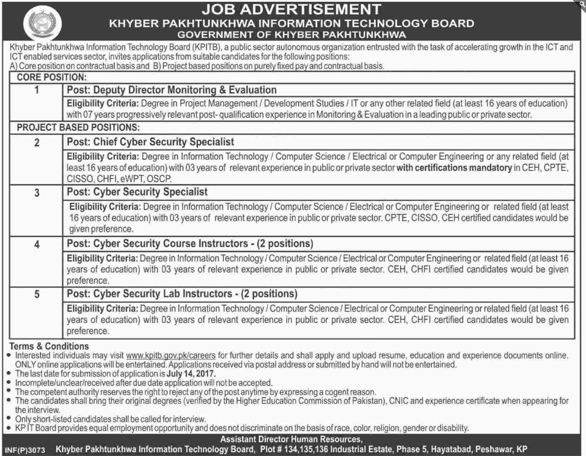 Govt Of Khyber Pakhtunkhwa Information Technology Jobs