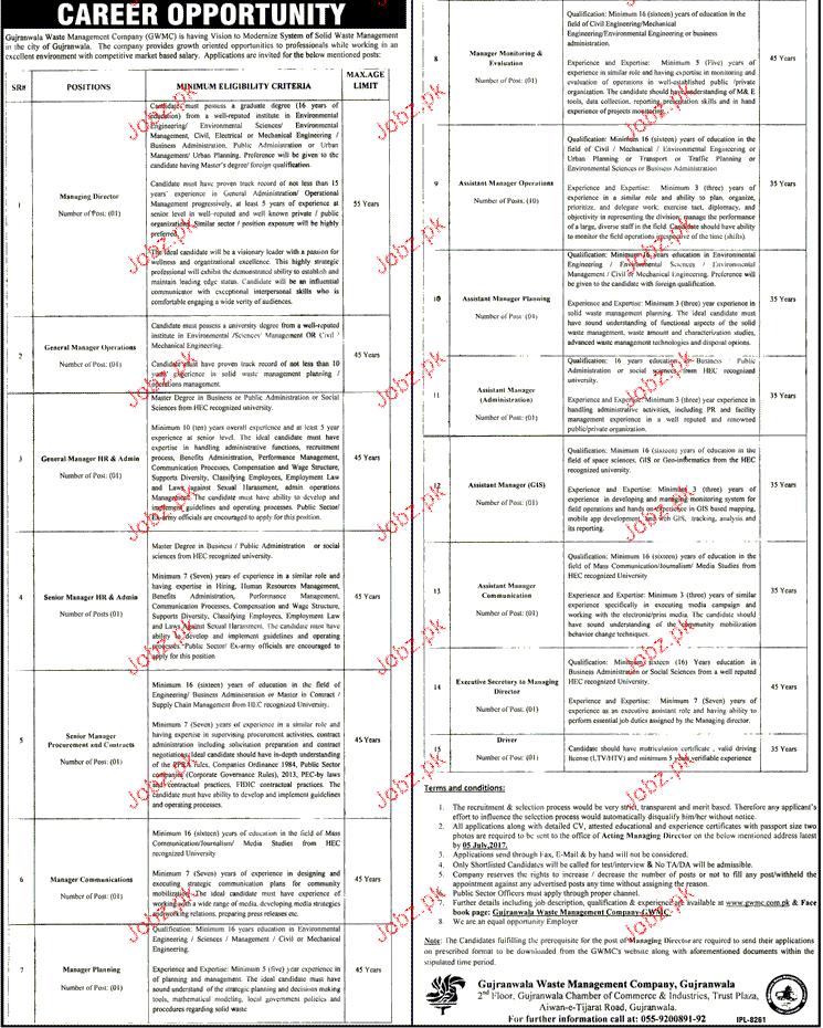 Gujranwala Waste Management Company GWMC Jobs