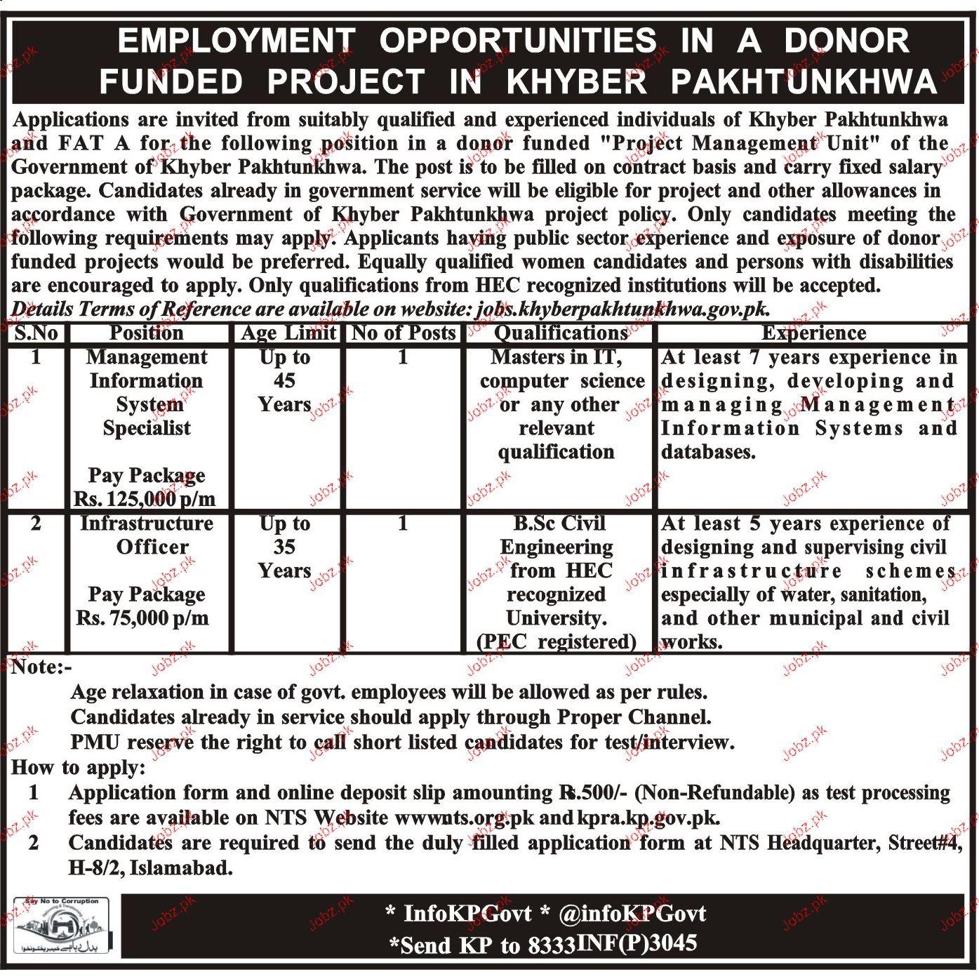 Khyber Pakhtunkhawa Project Management Unit  PMU NTS Jobs
