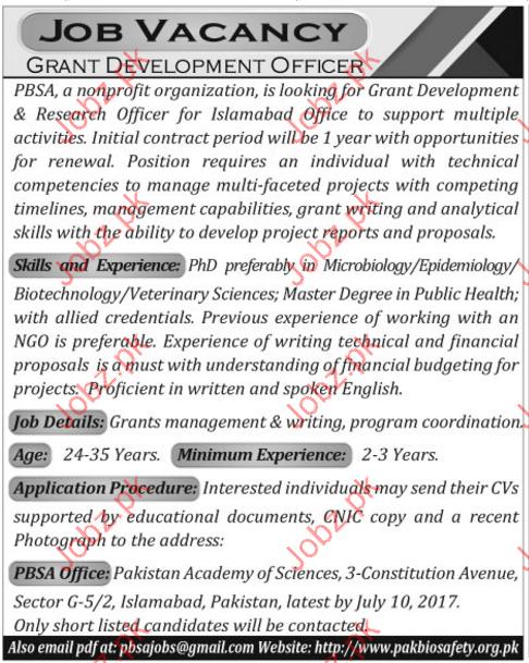 Grant Development Job Pakistan Biological Safety Association