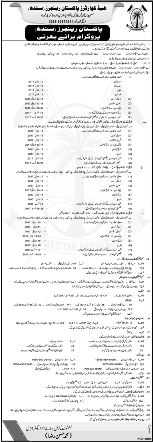 Headquarters Of Pakistan Rangers Jobs