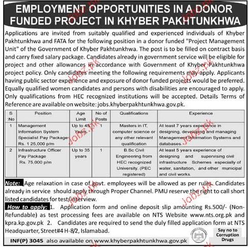 Government Khyber Pakhtunkhawa  NTS Jobs