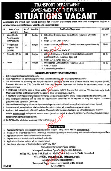 Transport Department Government of the Punjab Jobs