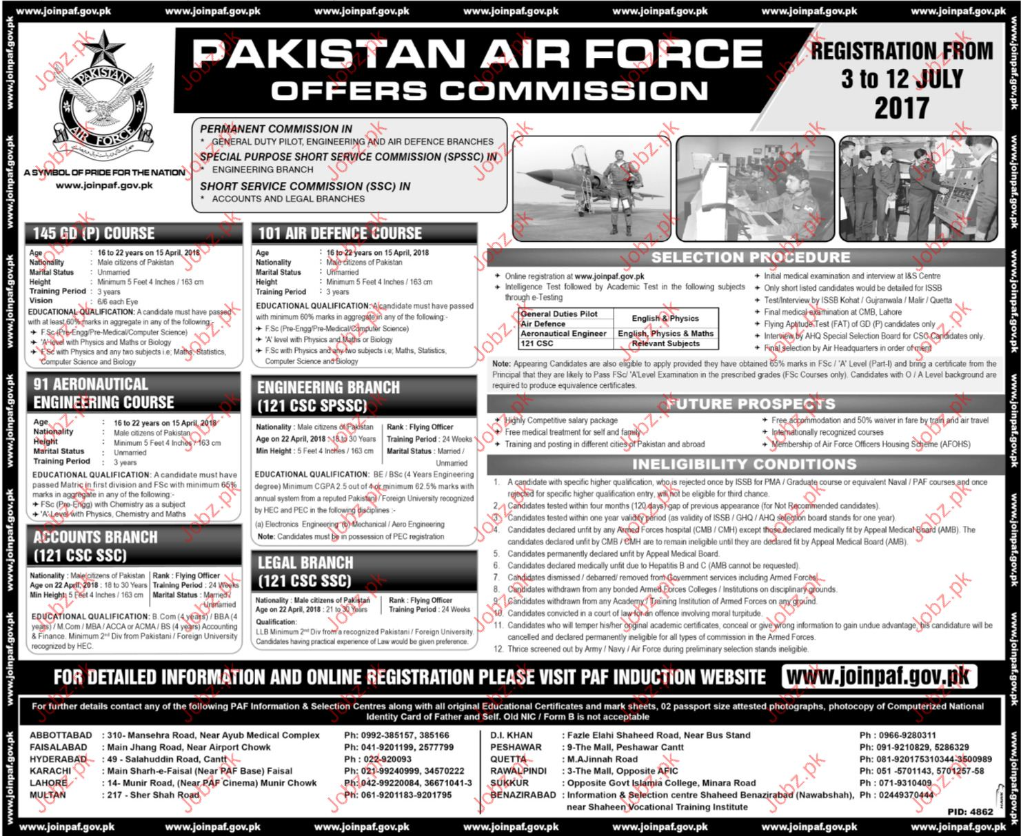 Pakistan Air Force Officer Commission Jobs 2017