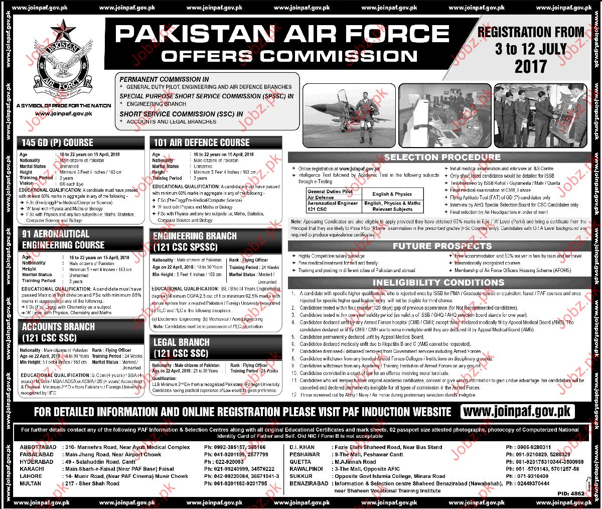 Join Pakistan Air Force as Officer Commission