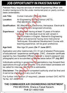 Civilian Instructor Jobs In Pakistan Navy Services