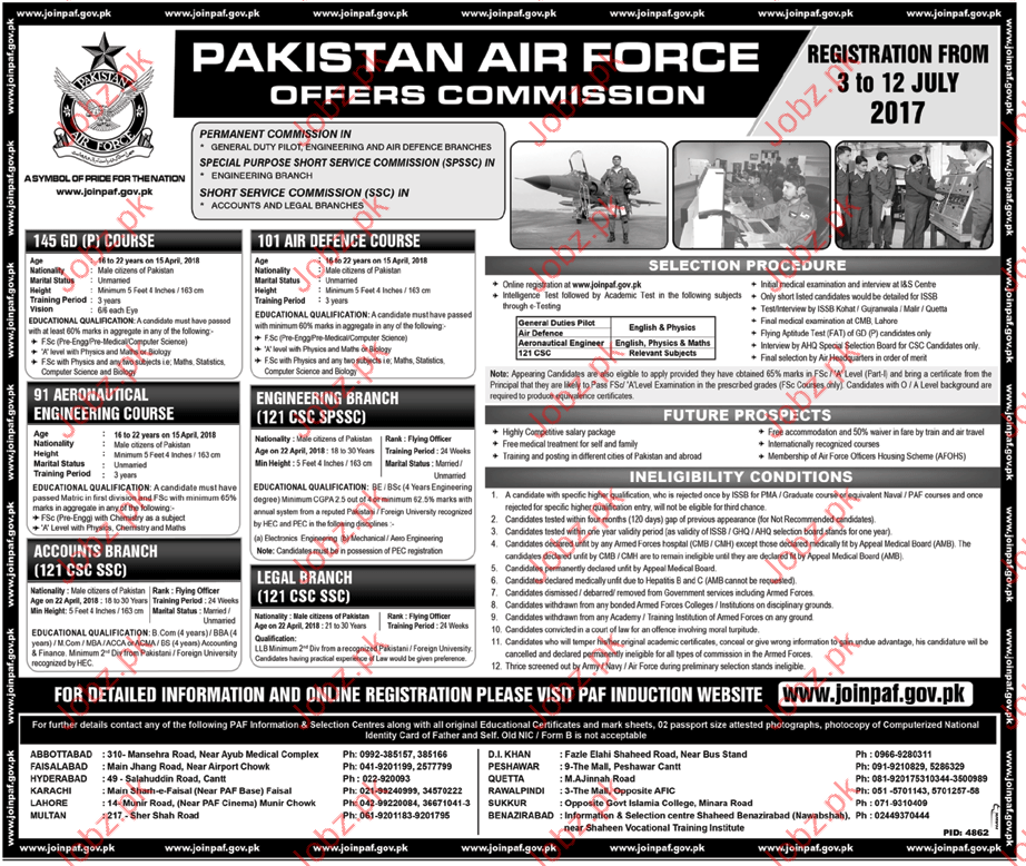 Pakistan Air Force as Officer Commission jobs 2017