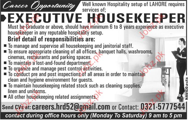 executive housekeeper jobs 2017 2019 job advertisement