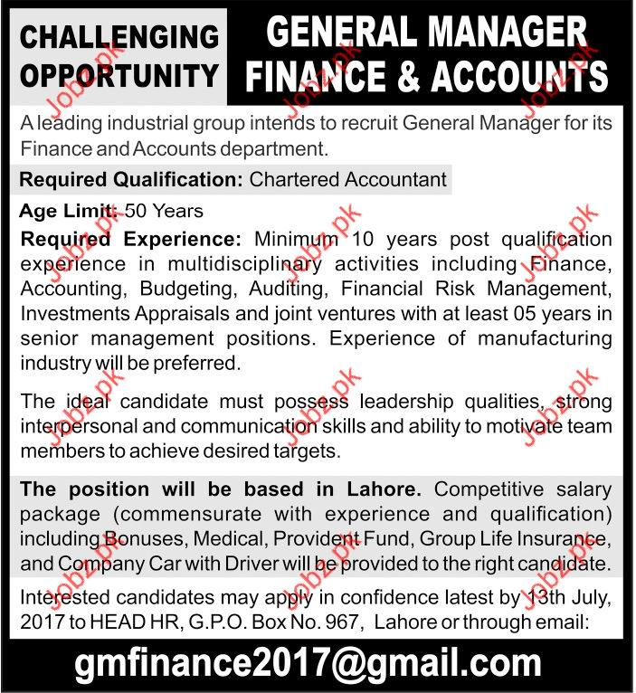 General Manager Finance and Accounts Needed