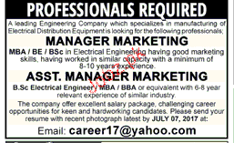 Manager Marketing and Assistant Manager Wanted