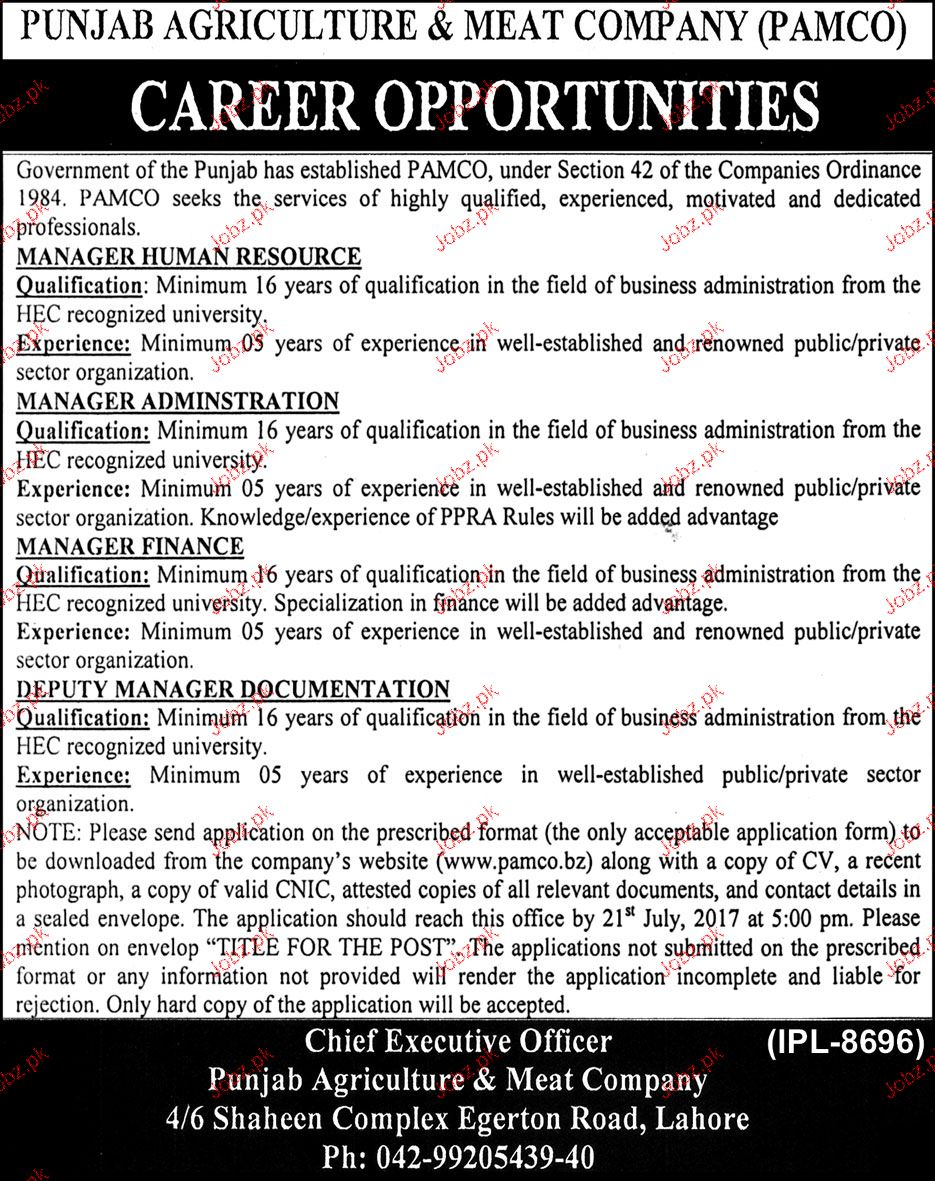 Punjab Agriculture & Meat Company PAMCO Jobs