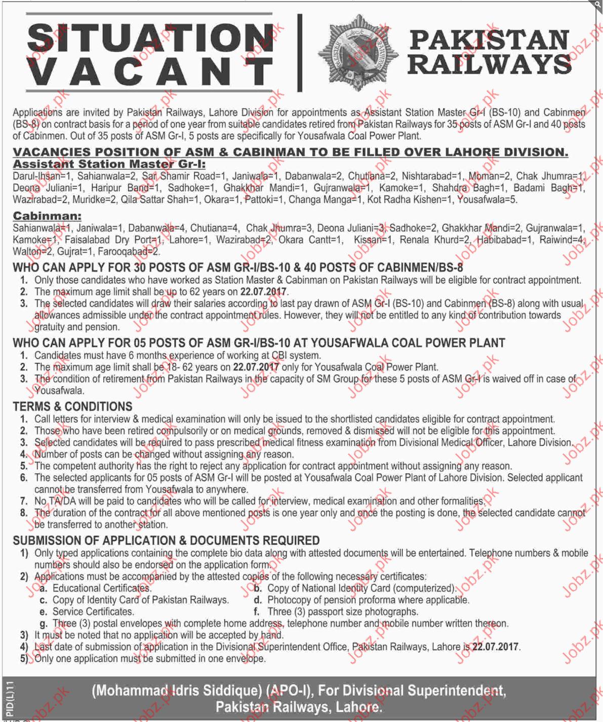 Cabinman Jobs in Pakistan Railways