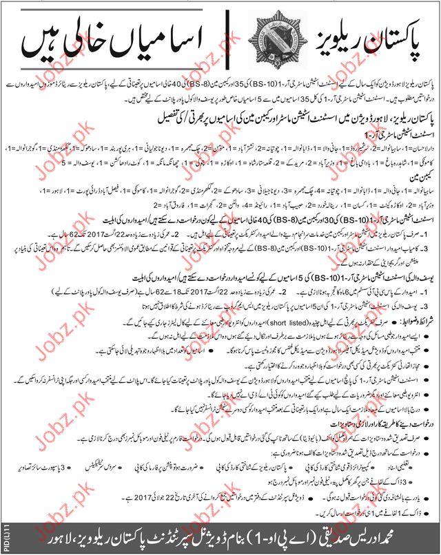 Pakistan Railway Lahore Division Jobs 2017