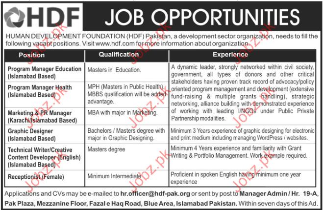 Management Jobs In Human Development Foundation