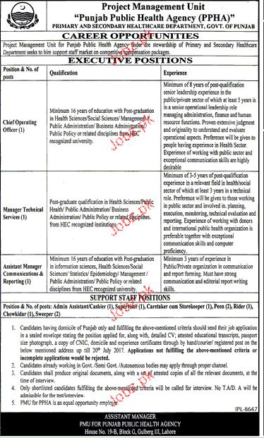 Punjab Public Health Agency PPHA Jobs Open