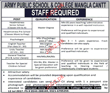 Army Public School and College APS Jobs Open