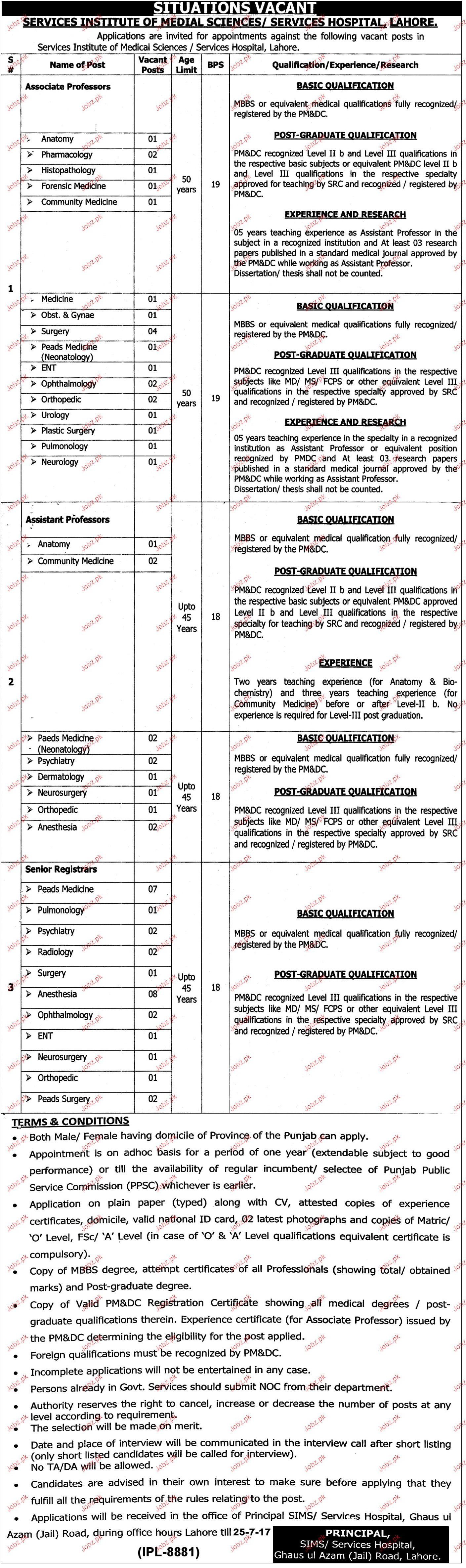 Service Institute of Medical Sciences Jobs Open
