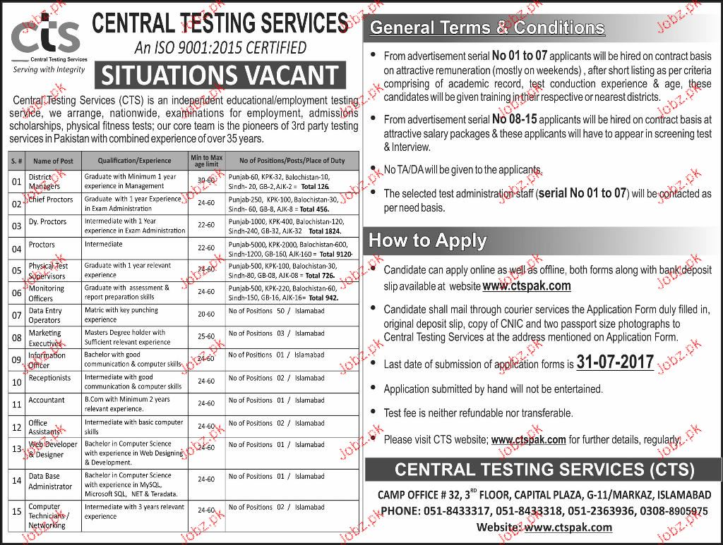 Management Jobs in Central Testing Service CTS
