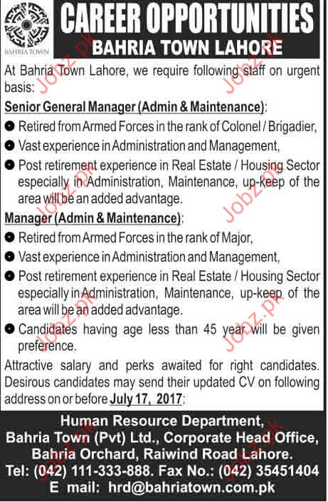 Bahria Town Lahore Career Opportunities