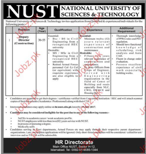 Natonal University Of Science & Technology Nust  Jobs