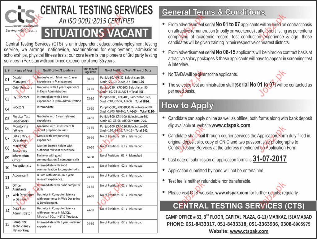 Central Testing Services CTS Vacancies