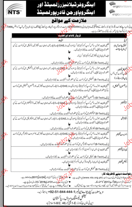 Engro Fertilizers Limited and Engro Powerjin NTS Jobs