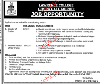 Lawerance College Ghora Gali Management Jobs