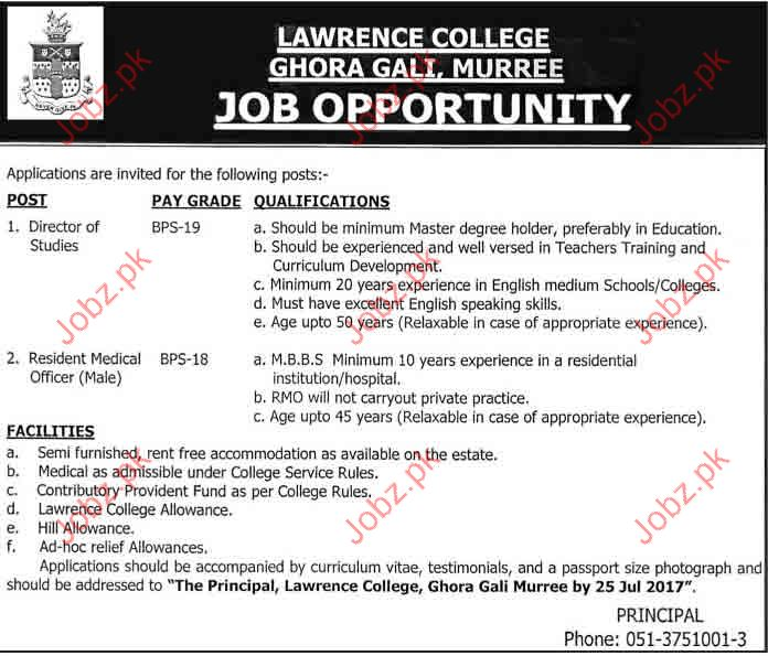 Lawrance College Murree LCM Job Opportunities