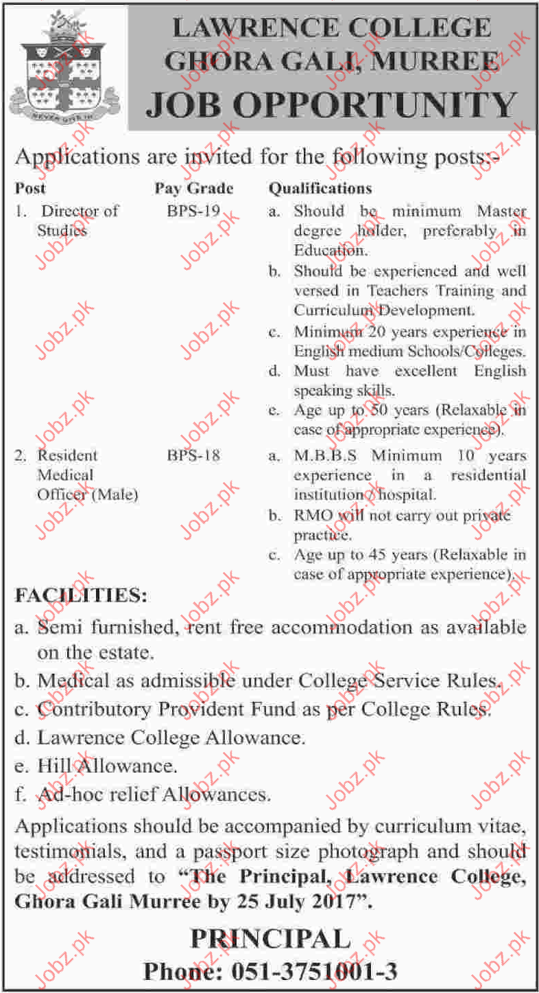 Director Studies Jobs In LAWRENCE College Ghora Gali