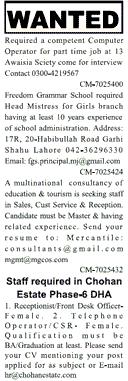 Computer Operators, Headmistress Job Opportunity