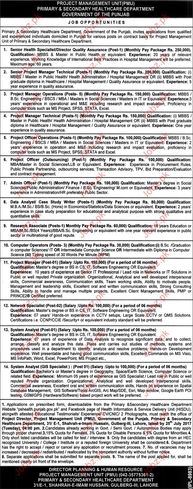 Medical Jobs in Primary & Secondary Health Care Department