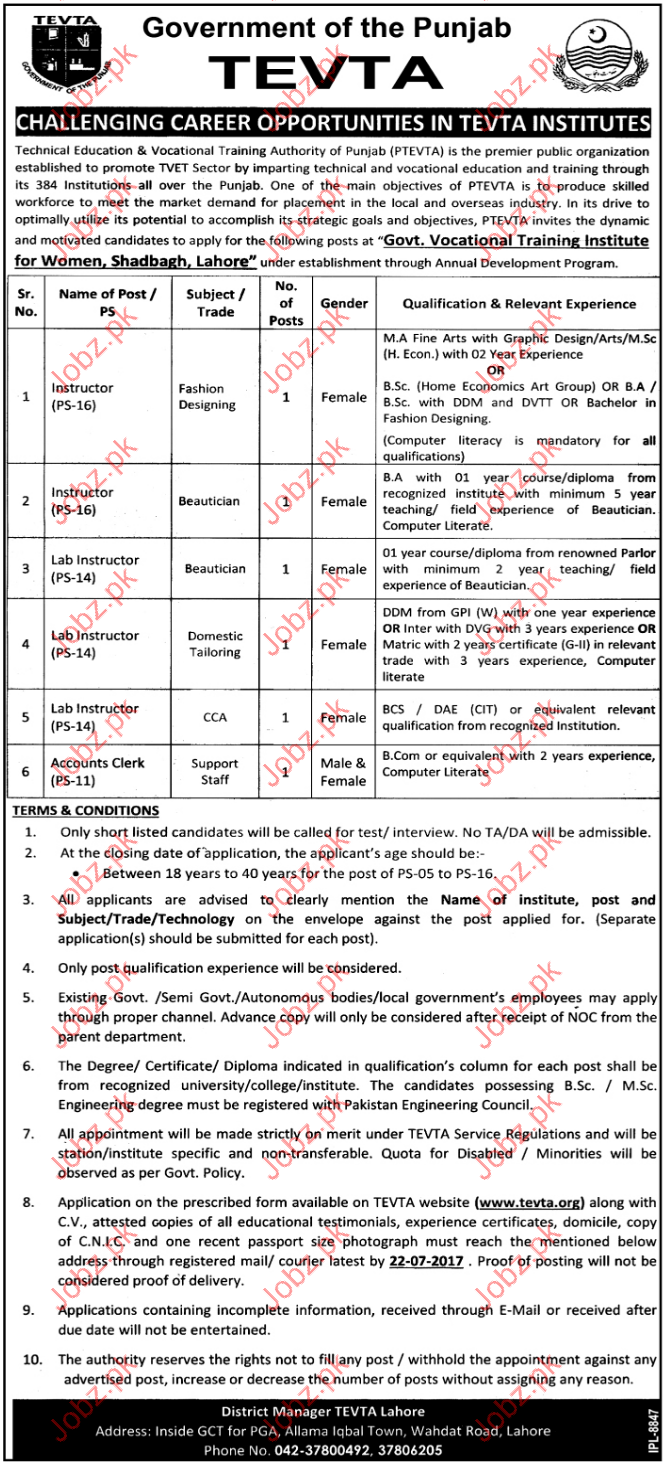 Instructor Jobs In Tevta Government Of The Punjab 2020 Job Advertisement Pakistan