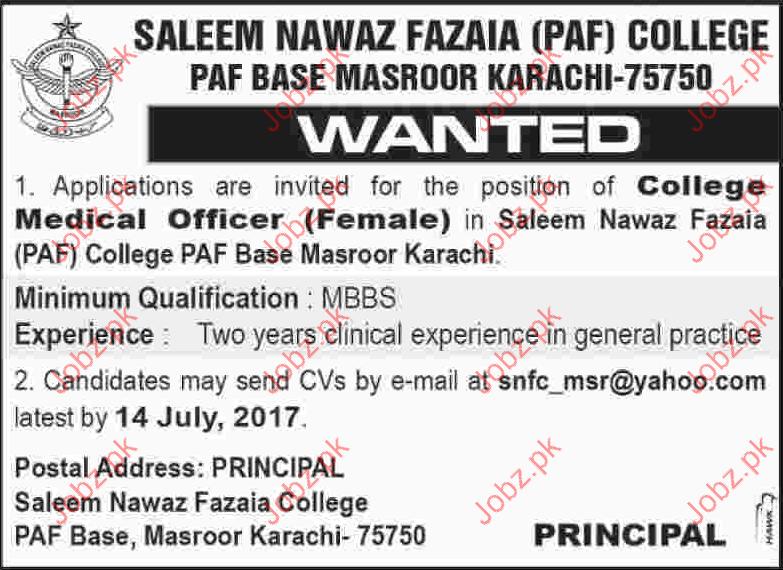 Medical Officer Jobs in Saleem Nawaz Fazaia PAF College