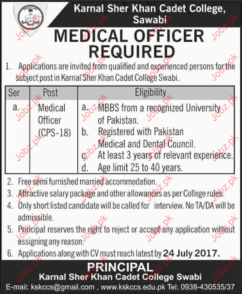 Beautiful Medical Officer Jobs Karnal Sher Khan Cadet College
