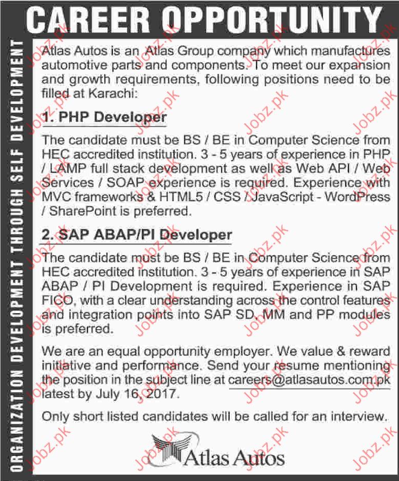 PHP Developer Jobs In Atlas Group Company