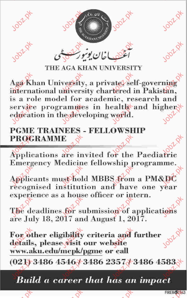 PGME Trainee Jobs in AghaKhan University