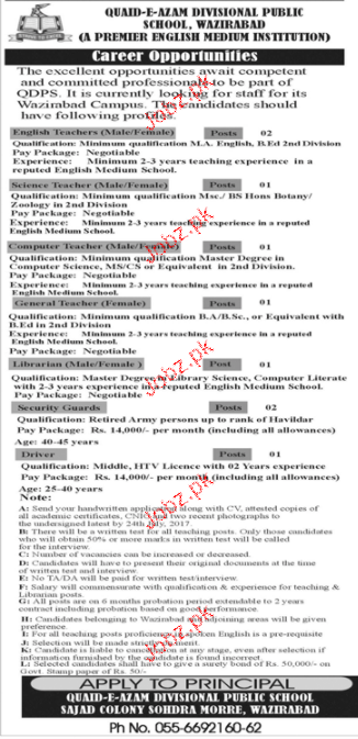 Divisional Public School and College DPS Teaching Jobs