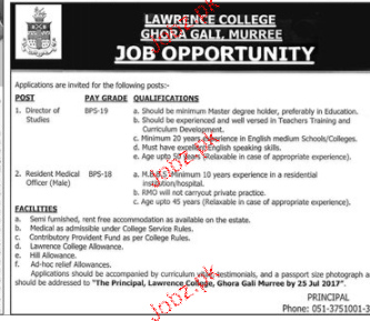 Lawrence College Ghora Gali Management Jobs