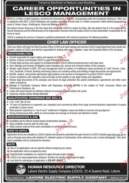 Lahore Electric  Supply Company LESCO  Jobs