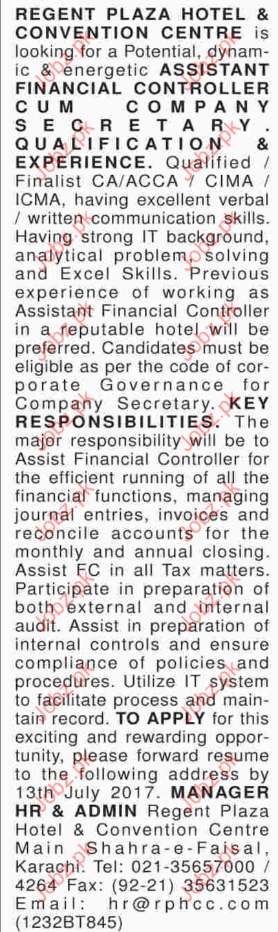 Financial Assistant Jobs in Hotel & Convention Center