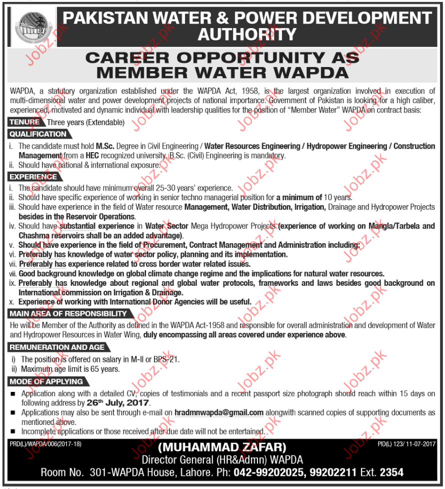 Tenure Jobs in Pakistan Water & Power Development Authority