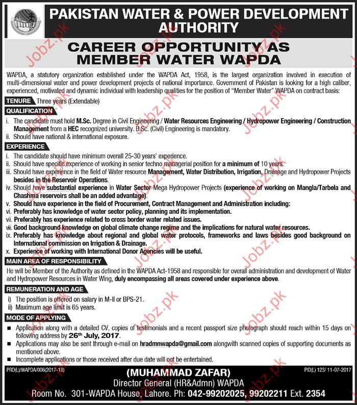Pakistan Water & Power Development Authority WAPDA jobs 2017
