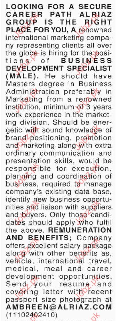 Business Development Specialist In Al Riaz Marketing Company