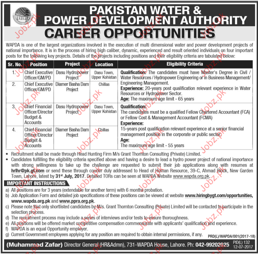 Pakistan Water & Power Development Authority Jobs 2017