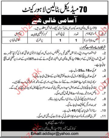 Medical Battalion Lahore career Opportunities