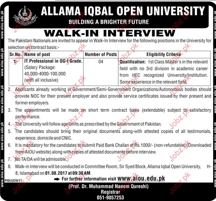 IT priofessional Jobns Allama Iqbal Open University