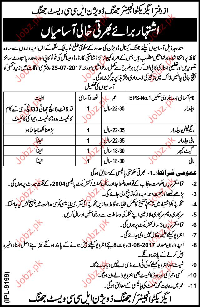 Clerical Jobs In Executive Engineering Canal Division Jhang